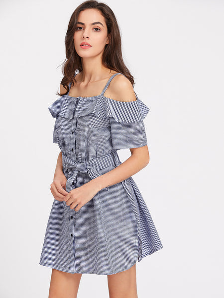 Navy Plaid Open Shoulder Belted Button Up Dress