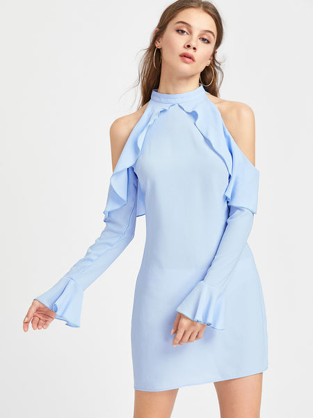 Blue High Neck Cold Shoulder Fluted Sleeve Dress