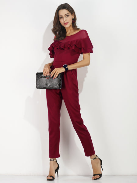 Burgundy Sheer Mesh Double Layered Frill Trim Jumpsuit