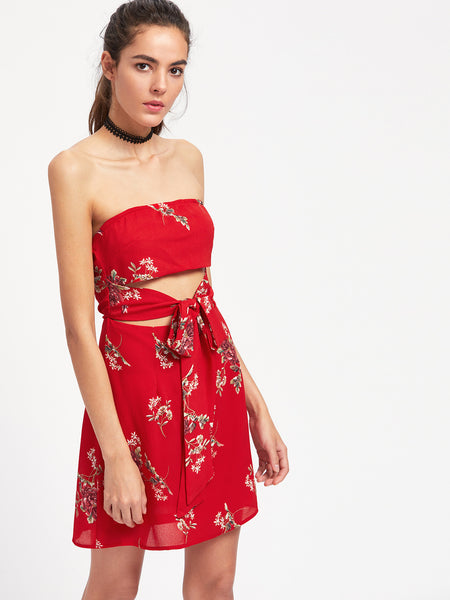 Red Floral Print Strapless Self-Tie Chiffon Dress