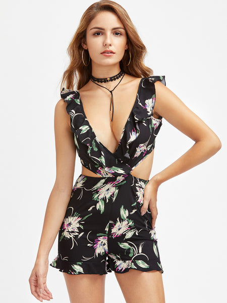 Black Floral Sleeveless V-Neck Backless Tie Cutout Playsuit
