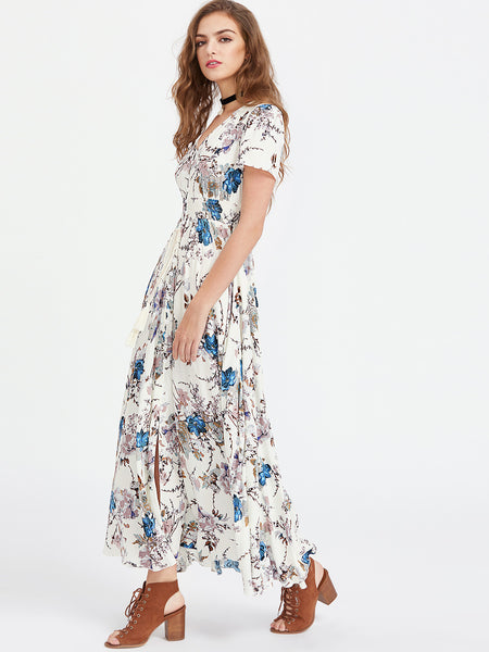 White V-Neck Smocked Waist Tassel Tie Floral Print Maxi Dress