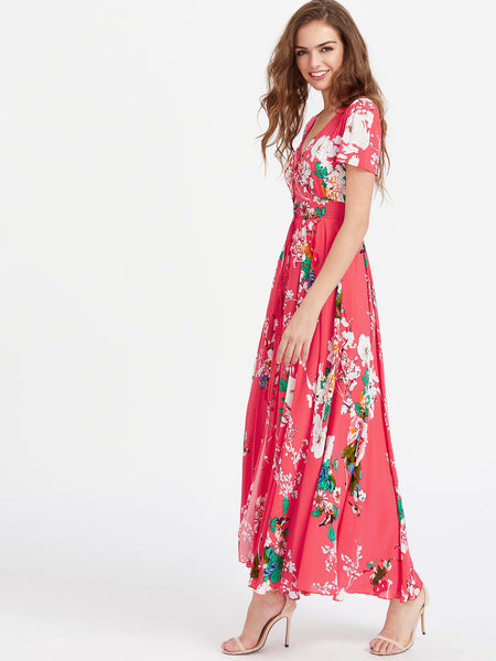 Pink V-Neck Smocked Waist Tassel Tie Floral Print Maxi Dress