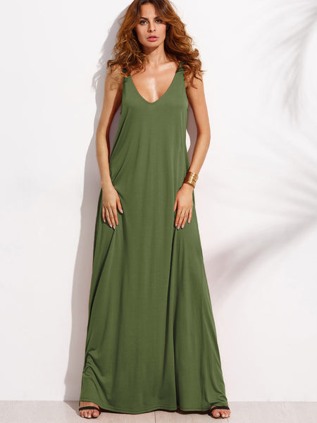 Army Green Sleeveless Double V-Neck A-Line Tent Dress