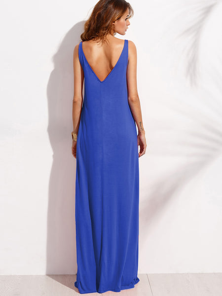Blue Sleeveless Double V-Neck A-Line Tent Dress