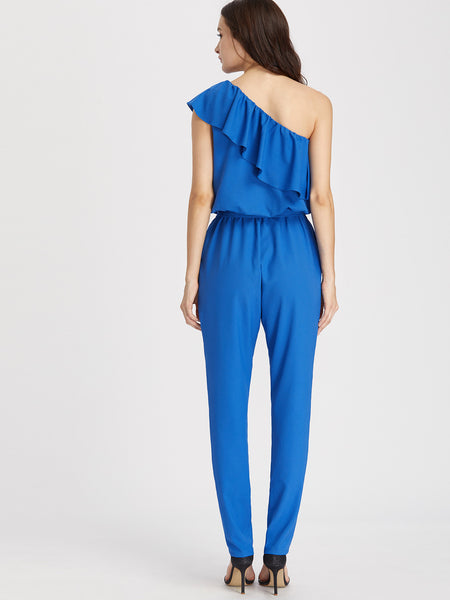 Blue One Shoulder Layered Waist Tie Jumpsuit