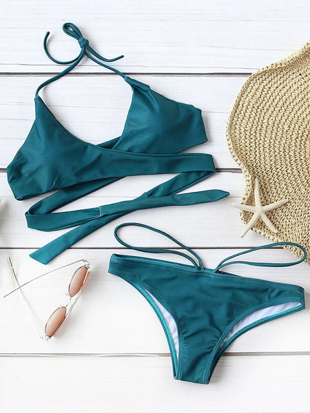 Green Push Up Halter Wrap Bikini Set