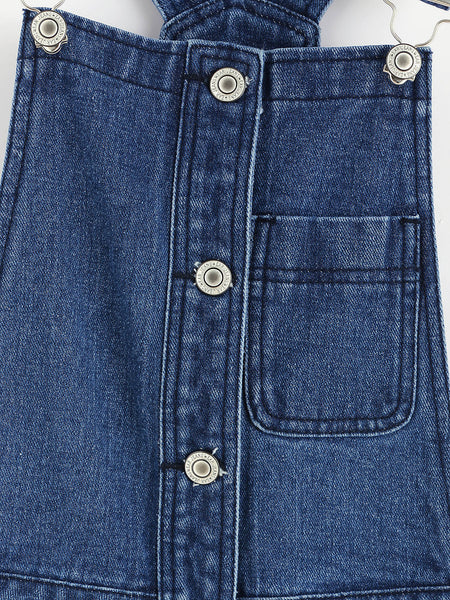 Blue Denim Front and Back Pocket Button Overall Dress