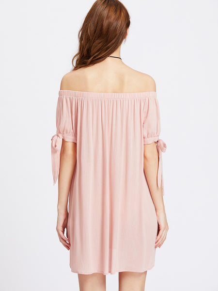 Pink Split Self Tie Sleeve Off Shoulder Dress