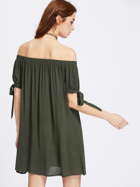 Green Split Self Tie Sleeve Off Shoulder Dress