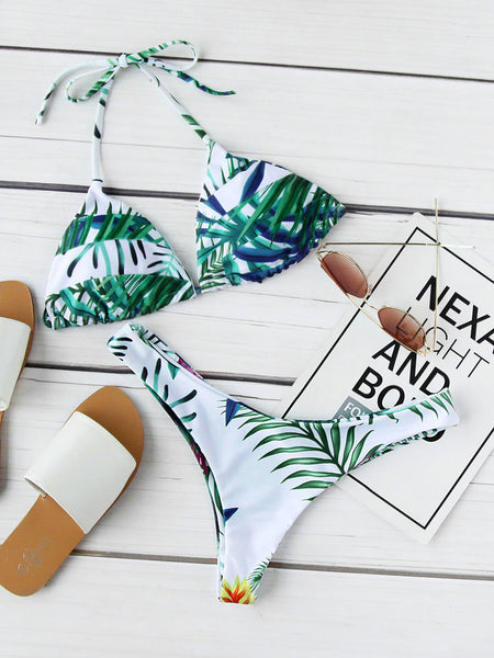 Green Tropical Print Halter Triangle Bikini Set
