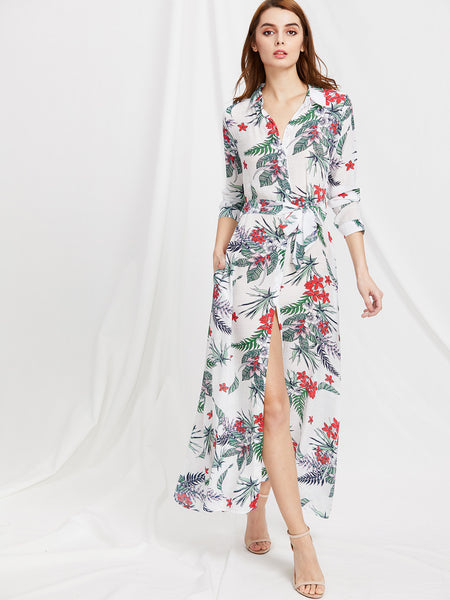 White Floral Print Long Sleeve Self Tie Shirt Dress
