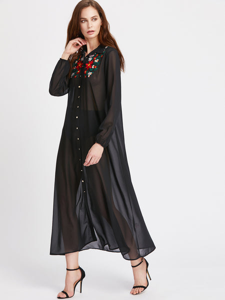 Black Flower Embroidered Lantern Sleeve Sheer Shirt Dress