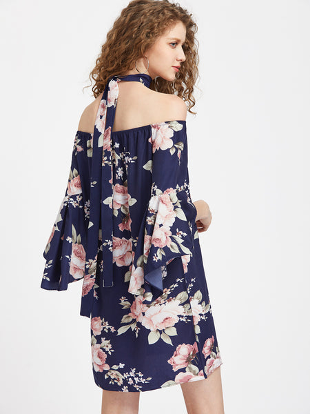 Navy Bardot 3/4 Trumpet Sleeve Floral Print Dress