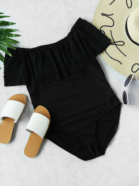 Black Off Shoulder Laser Cut Layered One Piece Swimsuit