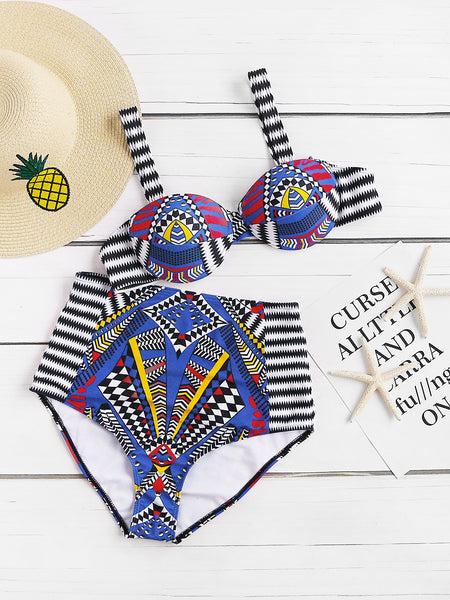 Multicolor Abstract Print Bustier High Waist Bikini Set
