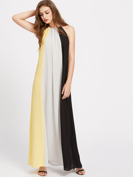 Multicolor Halter Cutout A-Line Hidden Pocket Maxi Dress