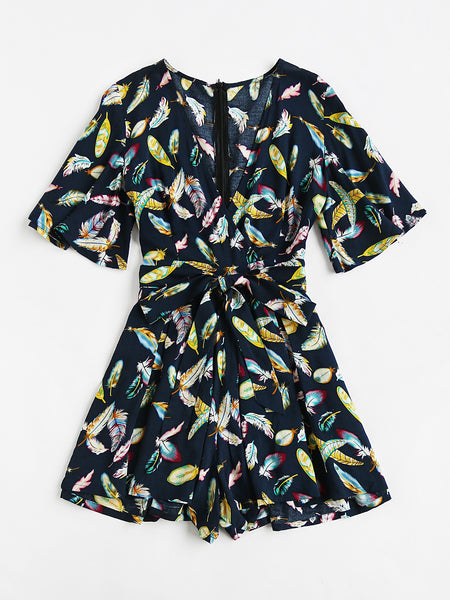 Navy Feather Print Flare Sleeve Pleated Wide Leg Playsuit