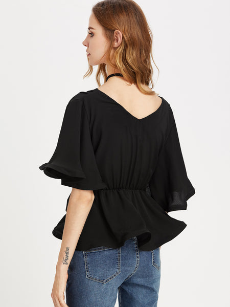 Black Elastic Belted Flutter Sleeve Wrap Top