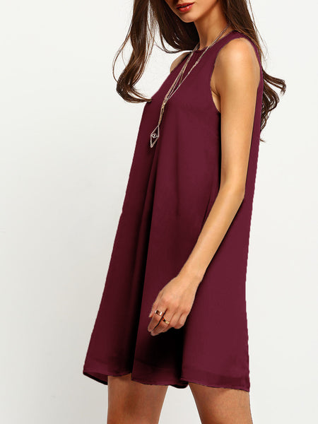 Burgundy Round Neck Sleeveless Buttoned Keyhole Back Dress