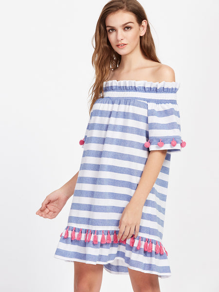 Blue Stripe Shirred Off Shoulder Pom Pom and Tassel Embellished Dress
