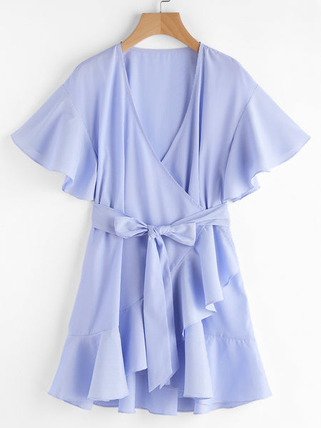 Blue Striped Drop Frill Shoulder Surplice Dress