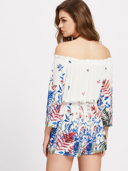 White Random Print Off Shoulder Long Sleeve Playsuit