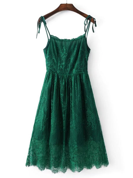 Green Tie Strap Scallop Hem Lace Cami Dress