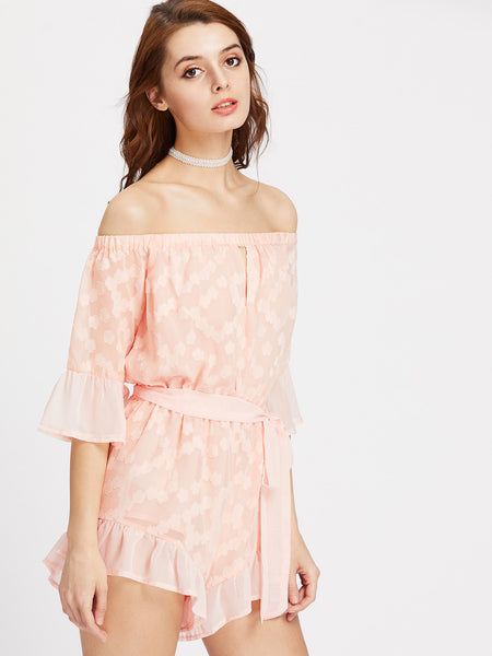 Pink Off Shoulder Flower Applique 3/4 Sleeve Self Tie Playsuit