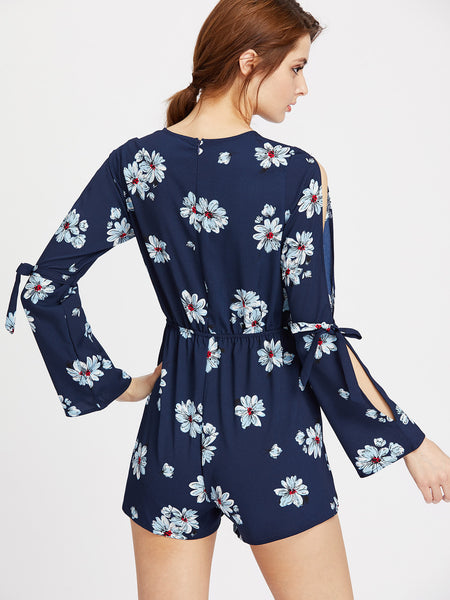 Navy Floral Print V-Neck Long Sleeve Split Flute Sleeve Lace Up Plunging Romper