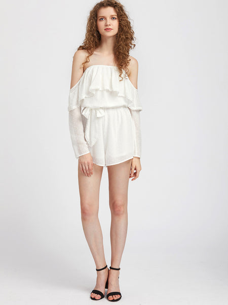 White Plain Long Sleeve Layered Off Shoulder Belted Dot Jacquard Playsuit