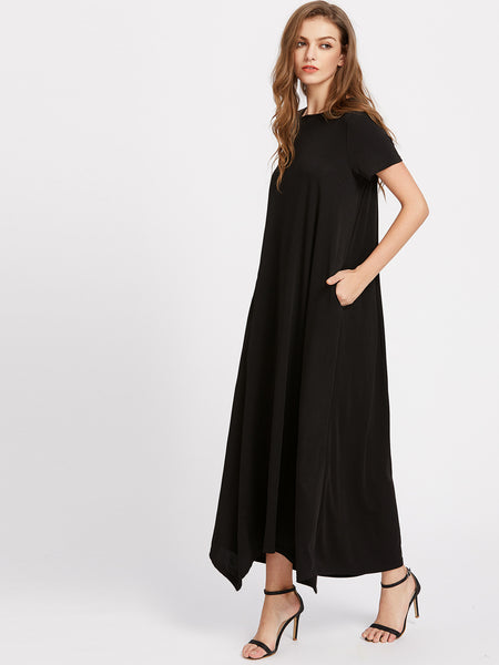 Black Round Neck Hanky Hem Secret Side Pocket Tent Dress