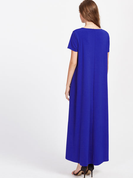 Blue Round Neck Hanky Hem Secret Side Pocket Tent Dress