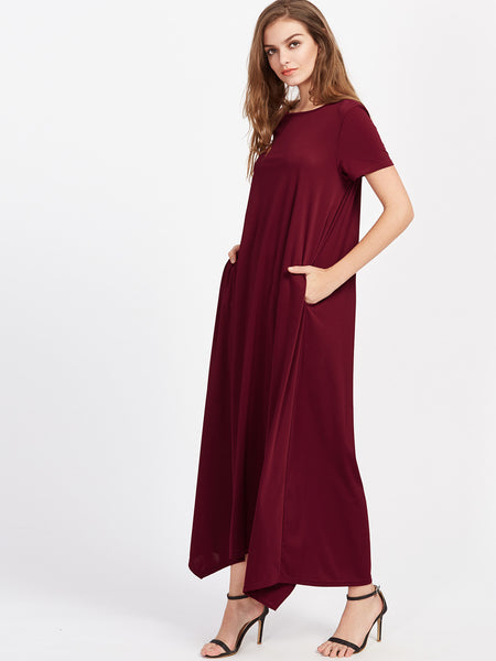 Burgundy Asymmetrical Hidden Pocket Hanky Hem Tent Dress
