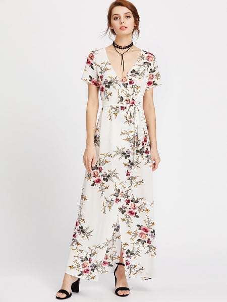White Botanical Print Wrap Self Tie Maxi Dress