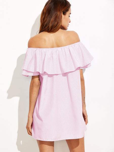 Pink Vertical Stripe Off Shoulder Layered Mini Dress