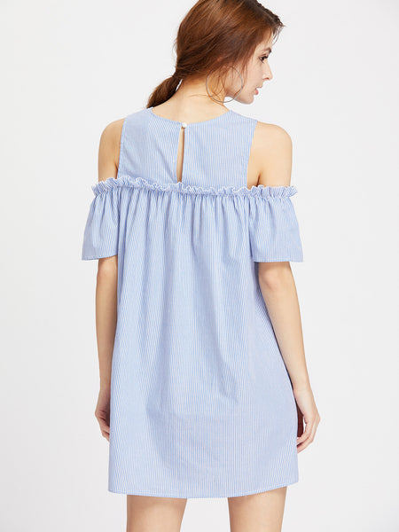 Blue Striped Open Shoulder Floral Embroidered Dress