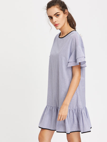 Blue Layered Drop Shoulder Pinstripe Ruffle Dress
