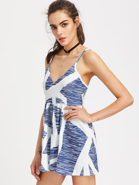 Blue Geometric Print Sleeveless V-Neck Cami Strap Romper