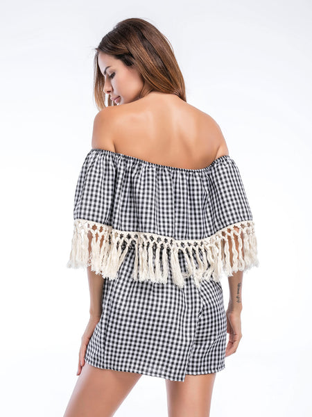 Black Plaid Layered Half Sleeve Off Shoulder Tassel Trim Romper
