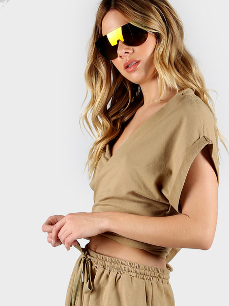 Camel Wrap V-Neck Cuffed Sleeve Back Waist Tie Crop Top