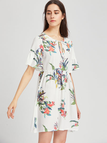 White Keyhole Tie Floral Print Trumpet Sleeve Smock Dress