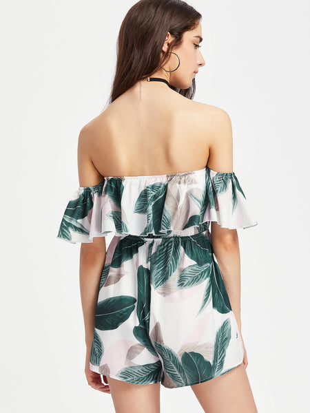Green Tropical Print Layered Tassel Tie Playsuit