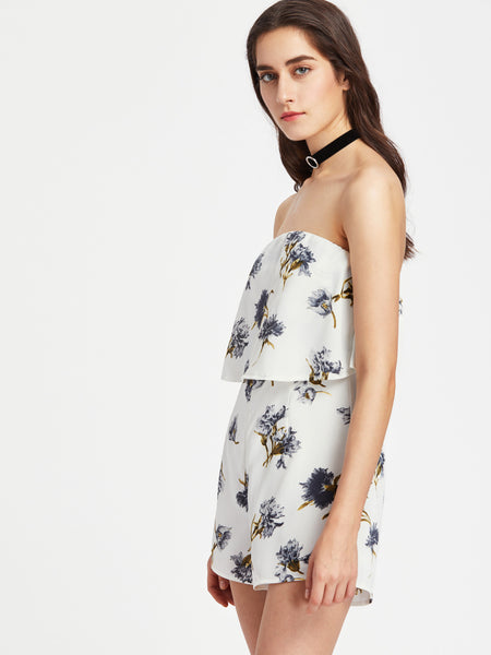 White Floral Print Sleeveless Layered Strapless Bandeau Playsuit