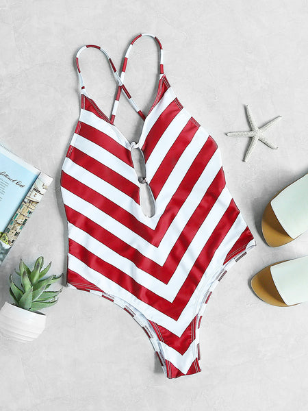 Red and White Plunge Neck Chevron Print Cross Back One Piece Swimwear