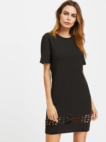 Black Round Neck Short Sleeve Laser Cut Out Midi Dress