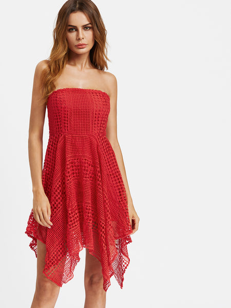 Red Overlay Geo Lace Asymmetrical Bandeau Dress