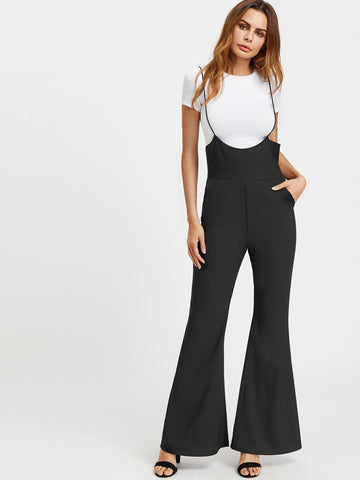 Black Adjustable Strap Back Zipper Flare Jumpsuit