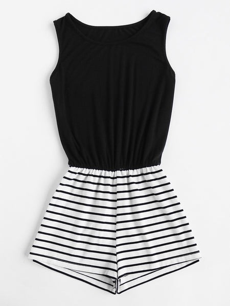 Black Striped Mix and Match Sleeveless Romper