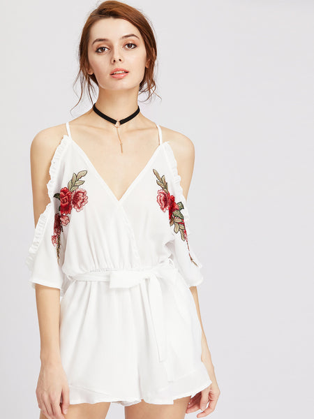 White Flower Embroidered Cami Straps Cold Shoulder V-Neck Appliques Frill Trim Self Tie Romper